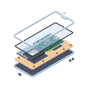 Аппаратное обеспечение смартфона. изометрические слои внутри гаджетов с сенсорным экраном или концепции обслуживания мобильных векторных материнских плат планшетных пк. аппаратное обеспечение смартфона, иллюстрация инноваций экранного оборудования