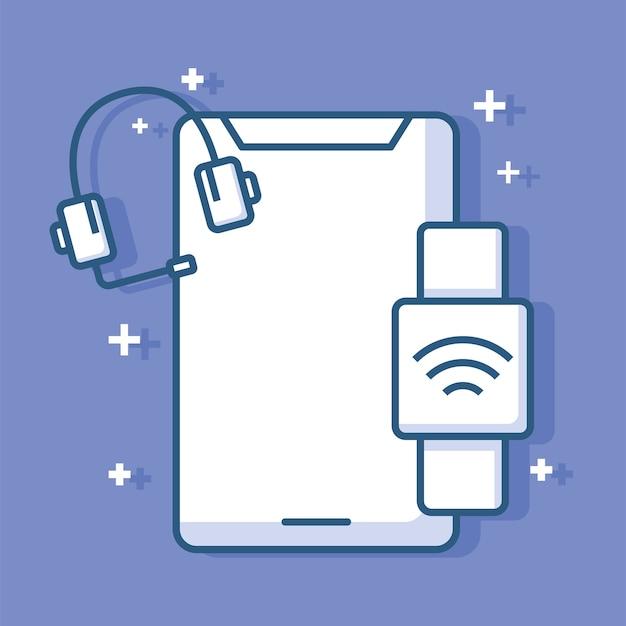 スマートフォンヘッドセットとスマートウォッチデバイス技術イラスト線スタイル