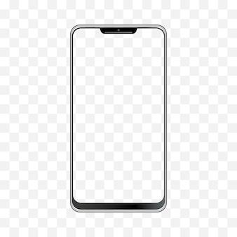 スマートフォンの図。空白のディスプレイを持つ携帯電話フレームは、テンプレートを分離しました。