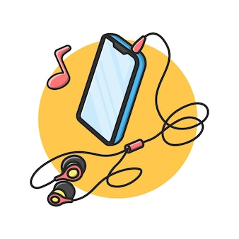 Smartphone illustration design with headphones attached