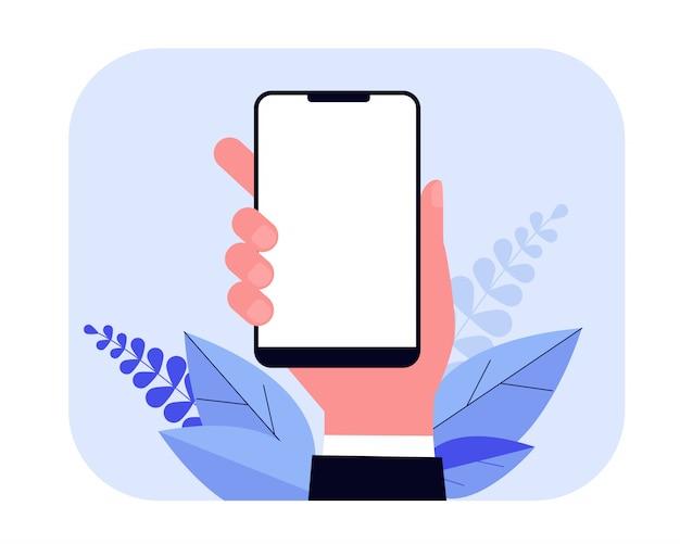 手のイラストのスマートフォン