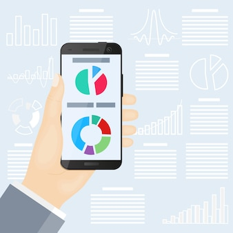 Смартфон в руке на фоне графики и диаграмм. плоский дизайн. инфографика.