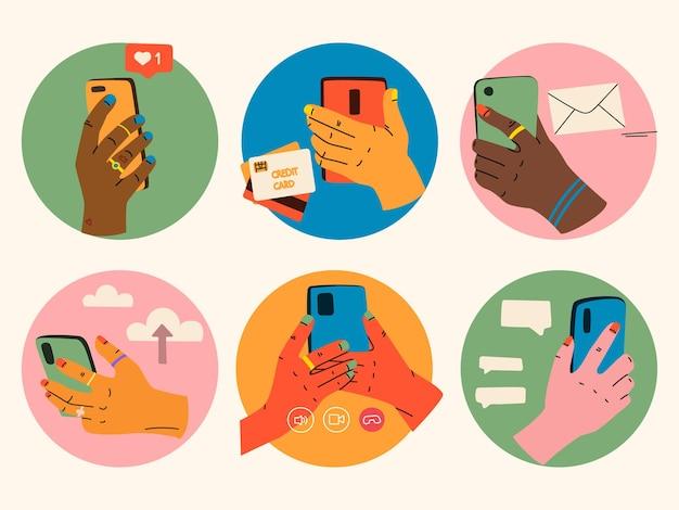 Смартфон в руке различные руки, держащие смартфоны видеозвонок, текстовый чат, оплата по электронной почте