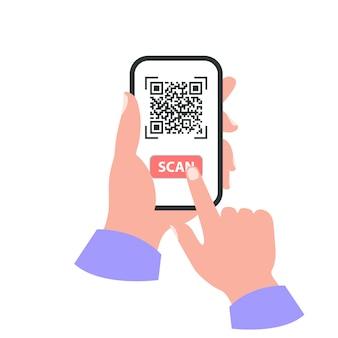 あなたの手のコンセプトのスマートフォン。 qrコードをスキャン