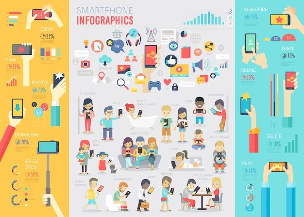 チャートやその他の要素を含むスマートフォンのインフォグラフィックセット