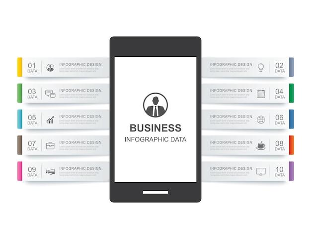 Смартфон инфографики шаблон с 10 данными для бизнеса.