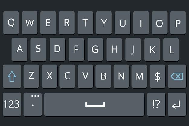 Smartphone keyboard, mobile phone keypad vector mockup