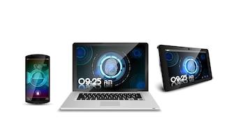 Smartphone laptop and tablet of concept fingerprint
