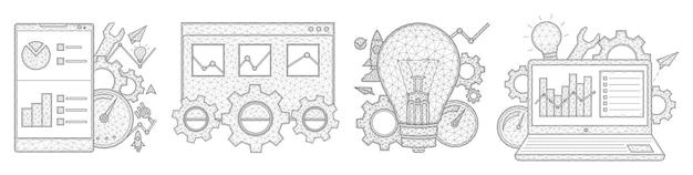 スマートフォンラップトップブラウザタブ電球ギアスピードメーター統計データポリゴンデザイン