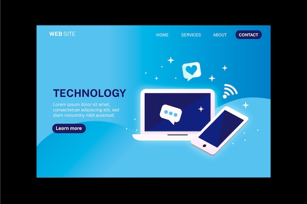 Smartphone and laptop technology landing page
