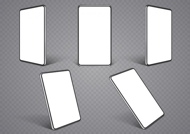 Макеты смартфонов под разными углами.