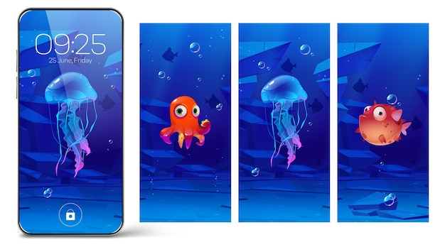수중 동물이 있는 스마트폰 잠금 화면, 휴대폰용 만화 온보드 페이지. 귀여운 복어, 해파리, 문어가 있는 장치용 디지털 배경 화면, 사용자 인터페이스 디자인 컬렉션
