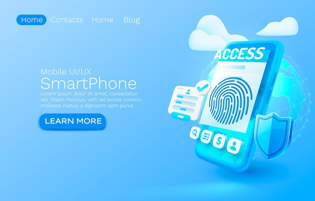 Smartphone login app banner concept place for text access online application authorization mobile service vector