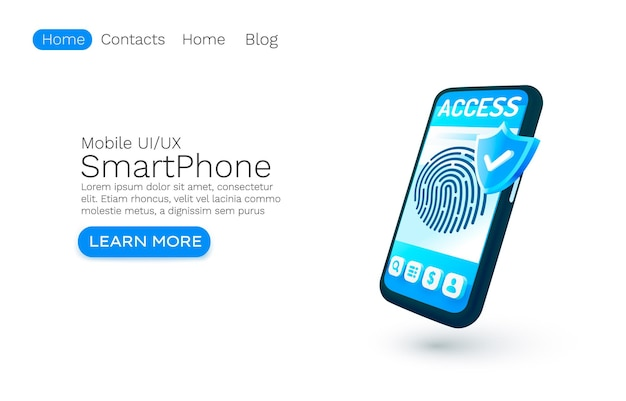 Smartphone login app banner concept place for text access online application authorization mobile