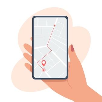 都市地図上のルートとポイントの場所を備えたスマートフォンモバイルアプリ
