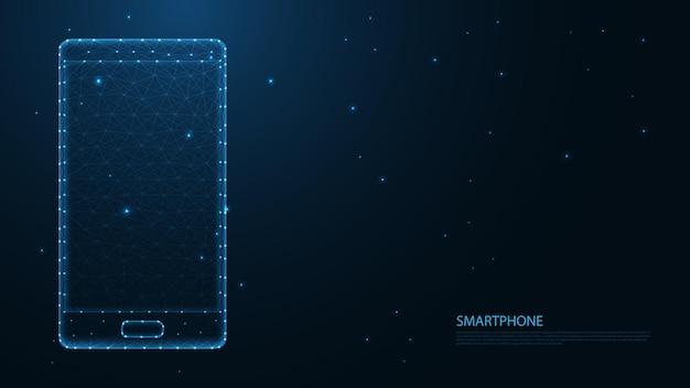 スマートフォンの携帯電話接続。低ポリワイヤーフレームデザイン。抽象的な幾何学的な背景。ベクトルイラスト。