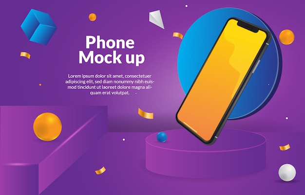Smartphone mock up with 3d purple background