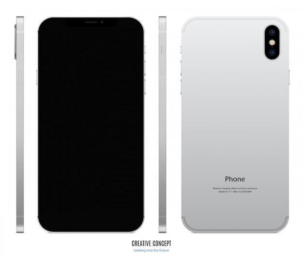シルバー色のスマートフォンのモックアップ、正面、背面、側面に黒い画面を表示