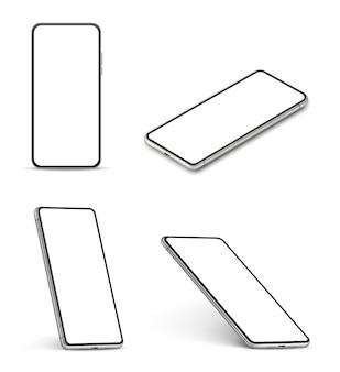 スマートフォンのモックアップ。空白の白い画面、さまざまな角度の現代の携帯電話と現実的な携帯電話ベクトル3d分離セット