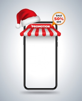 Smartphone mockup roof shop and christmas hat