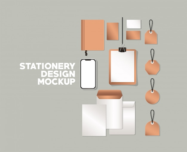 Smartphone and mockup set on gray background of corporate identity and stationery design theme vector illustration
