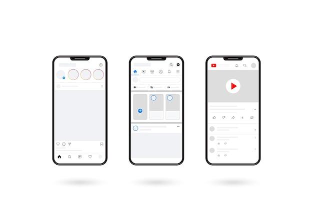 影付きのスマートフォンのモックアップ、ソーシャルメディアのレイアウト