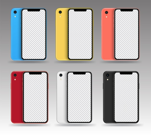 Smartphone mockups back front colour collection.