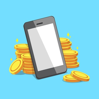 Smartphone and money coins