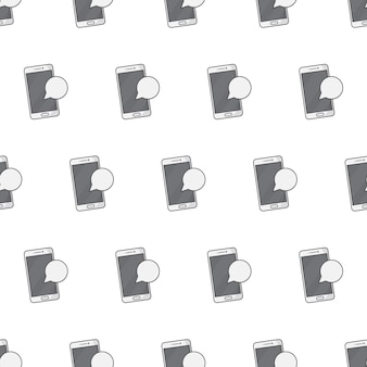 흰색 배경에 스마트폰 알림 원활한 패턴입니다. 알림 테마 벡터 일러스트 레이 션