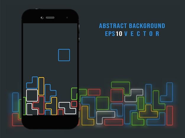 Смартфон на фоне видеоигры tetris