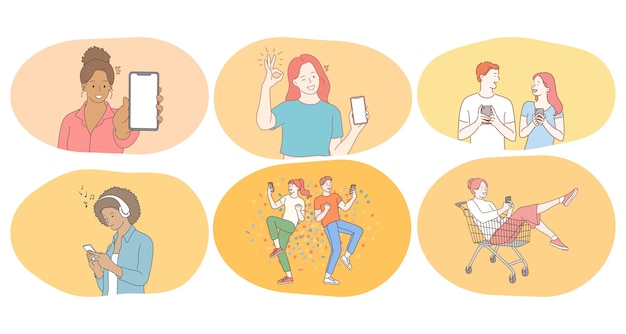 Smartphone, online communication, chatting concept.