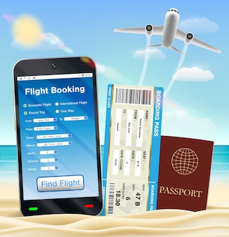 Smartphone online flight booking ticket passport