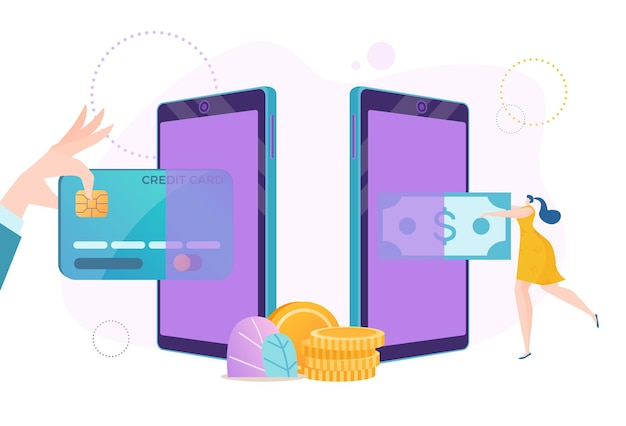 Smartphone online money, card payment by phone banking technology illustration