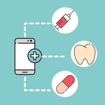 スマートフォンオンラインサービスとサポート健康医療イラスト