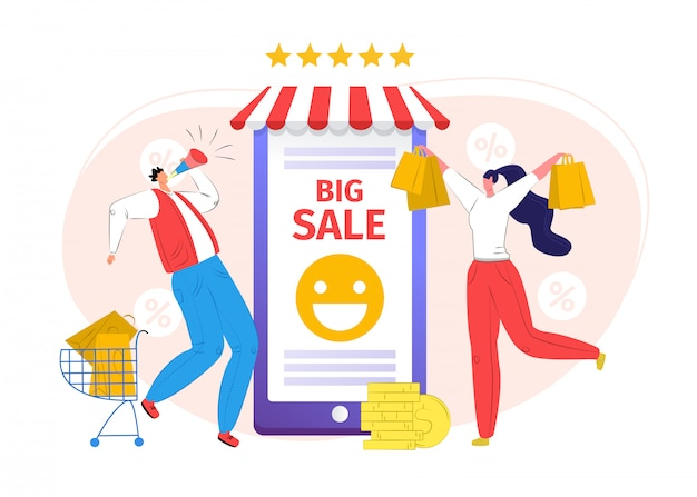 Smartphone online shop, people use mobile store  illustration. buy with big sale at internet app,  marketing technology. commerce business purchase in phone service, digital market .