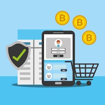 スマートフォンオンラインショッピングビットコインセキュリティ