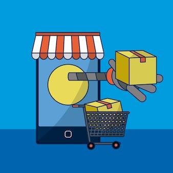 スマートフォンオンラインストアとショッピングカートのベクトルイラストグラフィックデザイン
