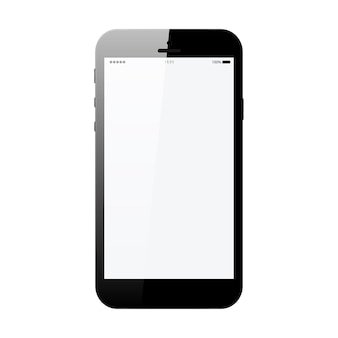 Smartphone in phone style black color with blank touch screen isolated on white vector illustration