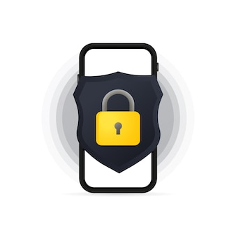 Smartphone privacy data protection banner. confidential data secure concept. vector on isolated white background. eps 10.