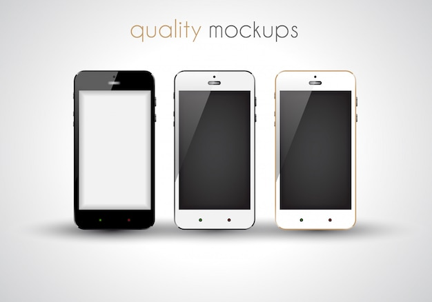 Smartphone realistic collection set of elegant modern style mockups