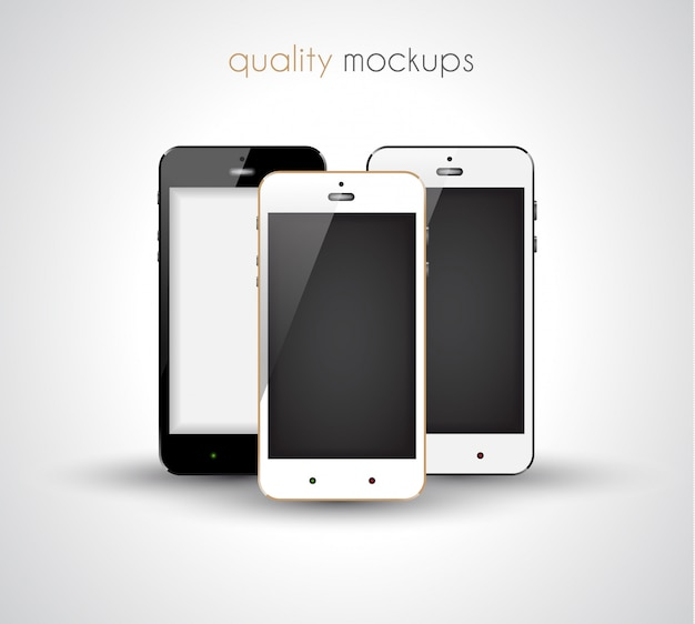Smartphone realistic collection set of elegant modern style mockups