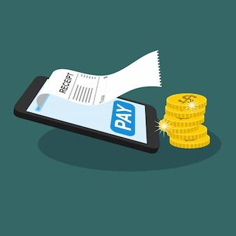 Smartphone receipt bill. billing check online.