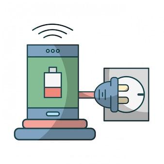 Smartphone recharging battery cartoon