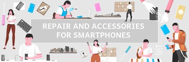 Smartphone repair and accessories for smartphones headline illustration