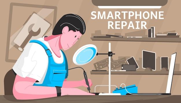 작업장 및 마스터가 있는 스마트폰 수리 평면 구성은 납땜 인두로 작동합니다.