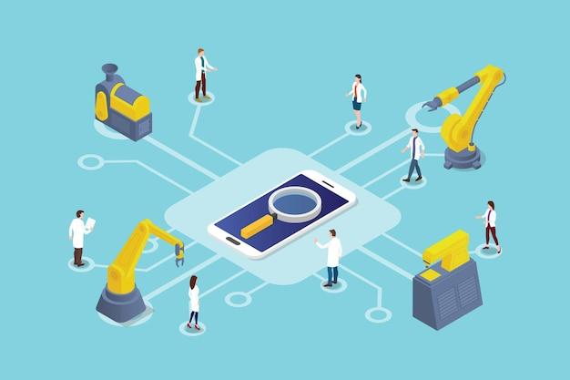 Illustrazione della tecnologia di ricerca per smartphone
