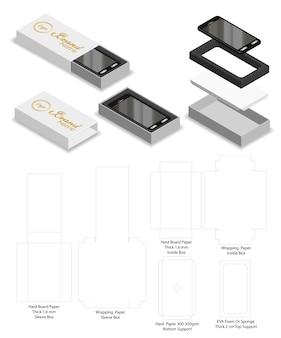 Smartphone rigid slide sleeve box mockup dieline