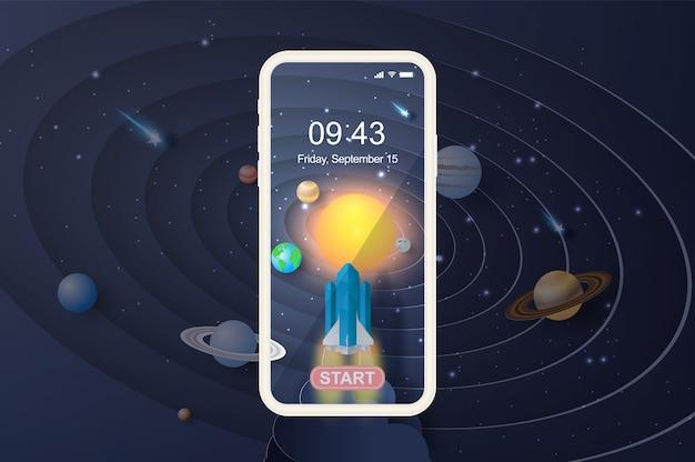Smartphone rocket startup for solar system circle.