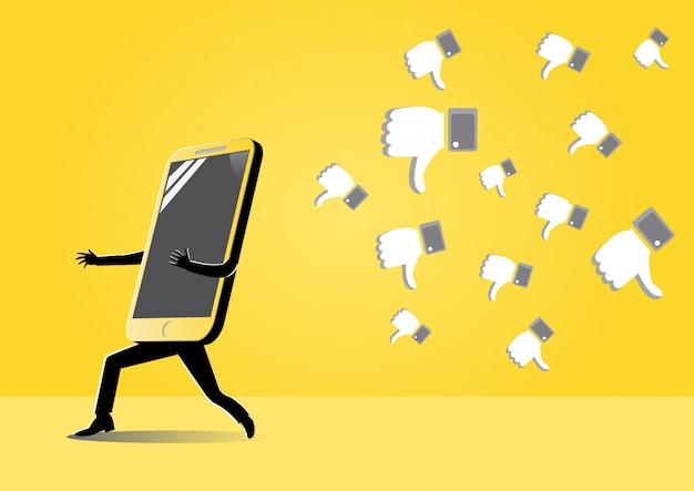 Smartphone running away form dislike's symbol