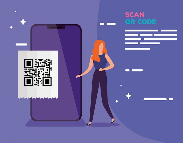 Smartphone scan code qr with business woman vector illustration design